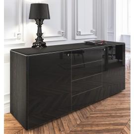 003 modernes Chefzimmer Sideboard, niedriger Schrank in Hochglanz schwarz mit Push&Pull Öffnung, modular konfigurierbar / Iulio HG