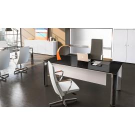 03 Schwarz/Weiß Kontrast Glasschreibtisch - Chefzimmermöbel, hochwertig, moderne Büromöbel mit Iulio HG