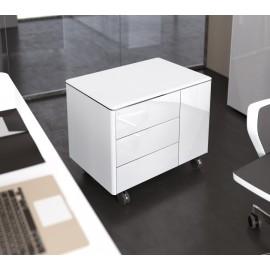 04 Designer Büro Glas-Serviceeinheit - Rollcontainer, mobiles Sideboard in Hochglanz Weiß mit Push & Pull Schubladen / Iulio HG