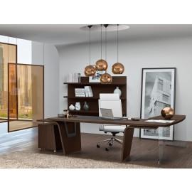 16  Design-Schreibtisch, Chefzimmer Einrichtung, modern in Eiche dunkel, Larus