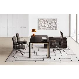 IULIO - 05_01 Design Büroschreibtisch, Chefbüro im modern zeitlos, Esche/braun Dekor, Winkellösungen mit Schiebeunterschrank