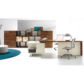 05 Design Schreibtisch und modularem Container, Chefschreibtisch mit flexiblen Stauraum Konzept, modern und günstig in Walnuss natur und elfenbeinfarben - Lithos