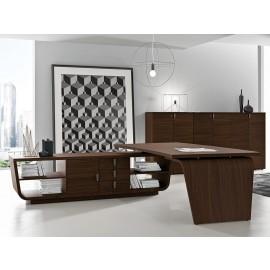 05  Design Winkel-Schreibtisch mit Serviceregal Anbau offen, Chefzimmer Büromöbel, modern mit abgerundeten Linien in Nussbaum natur, Larus