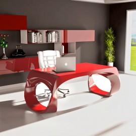 Infinity 05  exklusiver Design Schreibtisch, innovativ und individuell in purpurrot lackiert, aus Adamantx®, Designbüro Möbel