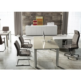 06 exklusive Büromöbel, Glasschreibtisch mit Edelstahl Optik, Inox Grau, anspruchsvoller Tisch, hochwertige Chefzimmer preiswert - IULIO