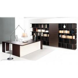 06 Schreibtisch massiv, Winkeltisch mit geschlossenem Tischgestell offenem Regal mit Schiebetür, Chefschreibtisch innovativ und günstig, zweifarbig Wenge und elfenbeinfarben - Lithos