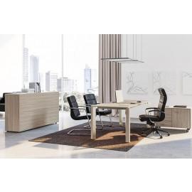 IULIO - 07 stilvoller Büroschreibtisch modern, Manager-Schreibtisch in Ulme/grau Dekor und passenden Bürolounge Sitzmöbeln