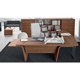 08  Design Eck Chefschreibtisch, Winkelschreibtisch für Chefbüro, Möbel modern abgerundet in Nussbaum natur mit Beinsichtschutz, Larus