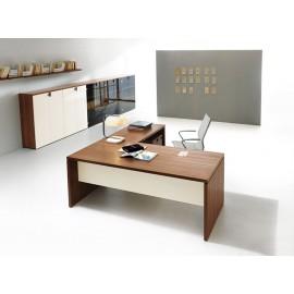 08 Design Eckschreibtisch mit geschlossenem Tischgestell, moderne Chefzimmermöbel preiswert in Walnuss und Elfenbeinfarben, zweifarbig  modulare Ordnerschränke - Lithos