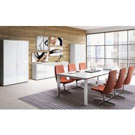 06 Konferenzraum Möbel / Meetingtisch mit Glas in Weiß, Besprechungstisch 210 x 120cm / Büromöbel Iulio HG