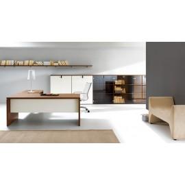 09 Chefmöbel Eckschreibtisch, modern, preiswert, Walnuss Elfenbein zweifarbig, Aktenschrank modular - Lithos