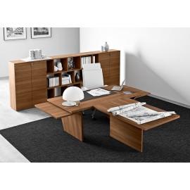 09  elegantes Designer Chefbüro, Büromöbel Schreibtisch modern mit Front-Meetingtisch in Nussbaum natur, Highboard mit Designregal, Larus