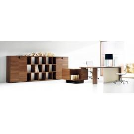 10 Chefbüro, Schreibtisch mit originellen Stauraum Container - modular , preiswerter Aktenschrank und Regalsystem, Nussbaum - Lithos