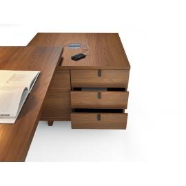 11 Design Schreibtisch mit Standcontainer, Stauraum modular anpassbar, Nussbaum Dekor - Lithos - günstig
