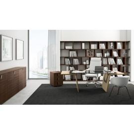 11 eleganter Glas-Chefschreibtisch, Chefzimmer-Einrichtung, Schreibtisch mit Seitenwangen hochwertig lackiert, modernes Design, Glasschreibtisch Larus