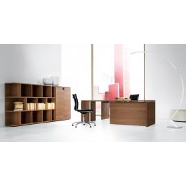 12 Chef-Schreibtisch, Design Büroregal, preiswert, Nussbaum Aktenschrank, Regalsystem modular,  zeifarbig möglich - Lithos