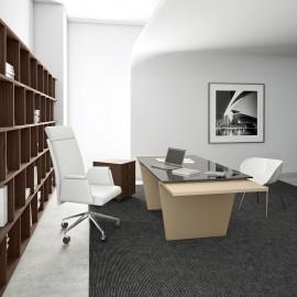 12  Design Glas-Chefschreibtisch, Chefzimmer mit Schreibtisch, Seitenwangen sind hochwertig lackiert, moderner Glasschreibtisch Larus