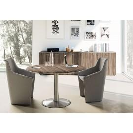 12 stilvoller Meetingtisch rund, Design Bbesprechungstisch, Samoa-Teak, Edelstahlfuß, exklusives Sideboard - IULIO