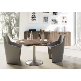 IULIO - 12 Meetingtisch mit  runder Tischplatte und Fußgestell, Design Besprechungstisch mit der Oberfläche in Samoa-Teak, Edelstahl-Tischgestell, passende Schrankmöbel und  Sideboards erhältlich
