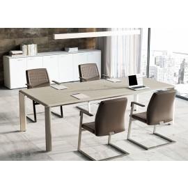IULIO - 13  eleganter Konferenztisch, modern und edles Design heben diesen Besprechungstisch hervor , Abbildung komplett in Ulme grau mit exklusiv umlaufender Tischkante in Edelstahl, Kabelauslass in der Mitte, auch zweifarbig erhältlich bei ukamo.de