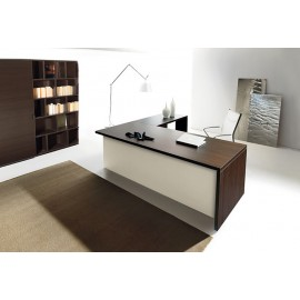13 exklusives Chefbüro mit Schreibtisch zweifarbig Eiche Dunkel - Elfenbein, originelles Design Regal mit Schiebtüre - Lithos - modern, preiswert
