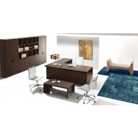 14 Design Chefbüro, Schreibtisch in Eiche dunkel, modularer Schrank und Ordner-Regalsystem - Lithos - modern, preiswert
