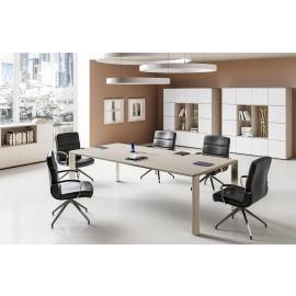 IULIO - 14 elegant modernes Konferenzzimmer, Crahef-Besprechungstisch in Ulme-Grau, Esche/braun, Samoa Teak oder Glas möglich, exklusive Monolith Chefmöbel