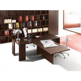 15 Chefschreibtisch mit Front - Meetinganbau, dunkle Eiche, exklusives Design, modulare Schränke, Regale - Lithos - preiswert
