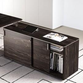 IULIO - 15 moderner Servicecontainer auch als Winkellösung für Büroschreibtisch einsetzbar, Tischsideboard in Esche/braun Dekor, Design Schiebetuerenschrank abschließbar