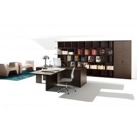 16 Chefzimmer - Einrichtung mit Schreibtisch und Anbau - Besprechungstisch in Eiche dunkel, exklusives modernes Design, modulare Schranklösungen in Kombination mit Regalsystem - Lithos - preiswert