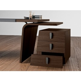17 Details Design Chefschreibtisch mit exklusiven Rollcontainer in Eiche dunkel, Larus