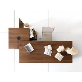 17 Design - Schreibtisch und origineller Tischcontainer bietet individuellen Stauraum, Frei konfigurierbar, Nussbaum und Elfenbein Dekor - Lithos