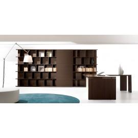 20 Chefzimmer Einrichtung, Bücherregal offen mit Schiebetür in Eiche dunkel, Designregal - Lithos