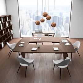 21   Design Konferenztisch, Konferenztimmer Einrichtung, modular anpassbar, Meetingraum modern einrichten, Besprechungstisch in Nussbaum natur, Larus