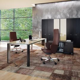 20 Büro Glasschreibtisch für Ihr Chefbüro mit Glastischplatte in Grau-Beige mit Edelstahl Tischbein und Esche Braun / moderne modulare Schrankkombination mit Glastüren / Chefzimmer - Iulio