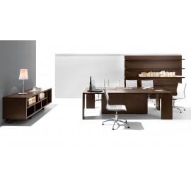 22 modernes Konferenzzimmer, Besprechungstisch mit Design Sideboard, offenes Wandregal in Eiche dunkel - Lithos,  preiswert konfigurieren