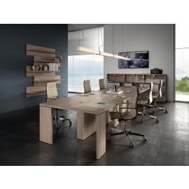 23-01 Konferenztisch modern, der Meetingtisch für ihr Chefbüro mit Kabelführung integriert, zeitlos chices Design in  Eiche Dekor - Kollektion Lithos