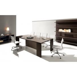 23 Konferenztisch Eiche dunkel, Meetingtisch mit versteckter Kabelführung, minimalistisch stilvolles Design - Lithos