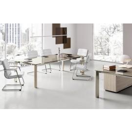 IULIO - 23 Büro Glas Konferenztisch edel, hochwertig in Qualität und Design, preiswerte Besprechungstische exklusiv mit Tischbeinen in Holzfarben, sowie Lava und weiß erhältlich