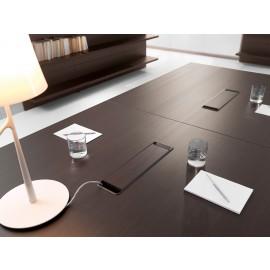 25 hochwertige Kabelführung für Konferenztisch, Abdeckung in Eiche dunkel - Lithos