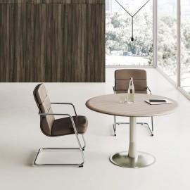 IULIO - 25 kleiner Meetingtisch, Tsichplatte rund Drm. 120 cm, moderne Besprechungstische in Ulme/grau und Edelstahl-Tischgestell