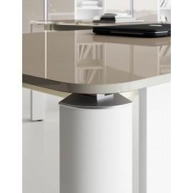 IULIO - 26- Details Glas-Konferenztisch, Tischplatte in grau/beige - Tischbeine in br.white