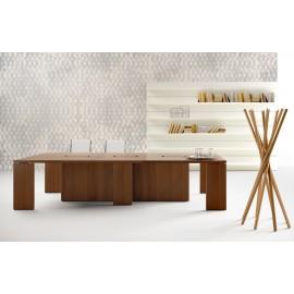 26 moderner Konferenztisch, Meetingtisch mit integrierter Kabelführung mit Platz für ca. 8-12 Personen , Nussbaum Design - Lithos