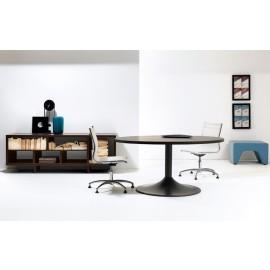 27 Meetingtisch rund 6-8 Personen, Konferenzzimmer Besprechungstisch mit offenem Sideboard, Eiche dunkel  - Lithos
