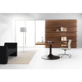 28 kleiner Chefbüro Meetingtisch für 6-8 Personen, Konferenztisch in Walnuss Dekor, Wandboard, Regal Nnussbaum - Lithos - schnell lieferbar, preiswert