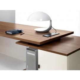 33 Chefzimmer, Schreibtischcontainer zweifarbig, PC Ablage mit Kabelklappe, Walnuss - Elfenbein,  - Lithos