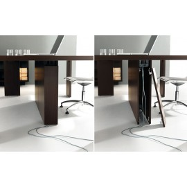 38 zentrale Kabelführung im Mittelfuss vom modularen Meetingtisch, Konferenztisch - Lithos