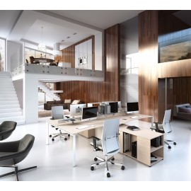 5th-Element 05 Team-Arbeitsplatz, elegantes Design, Schreibtisch mit Monitorhalterungen, Gestell in weiß, Tischplatte Ahorn