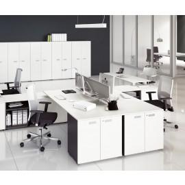 5th-Element 06 Mitarbeiter Arbeitsplatz, viel Stauraum, Schreibtisch mit Schallschutz, open Space, weiß, anthrazit