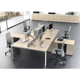 5th-Element 07 Team Arbeitsplatz, Mehrplatz-Schreibtische, Tischplatte Ahorn mit Servicecontainer